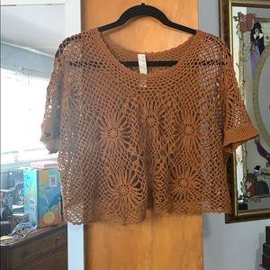 Free People Knit Short Sleeve Shirt